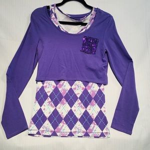 Two in one purple shirt size 18 by Justice